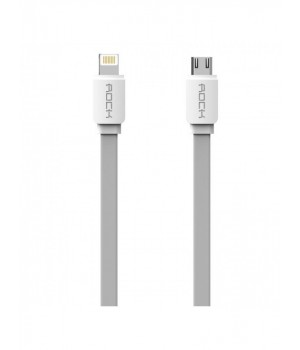 Кабелі Rock Micro To Lightning Flat Data Cable gray