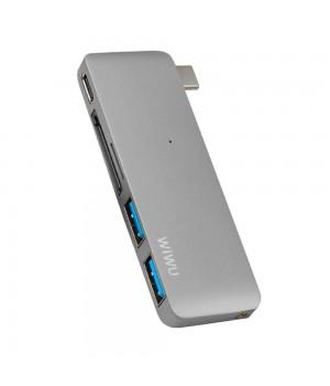 Перехідник Wiwu USB USB-C 5in1 Hub Т6 (MicroSD + USB-C + SD + USB3.0x2)