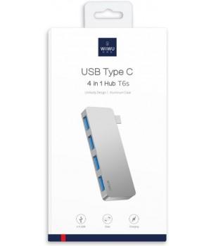 Перехідник Wiwu USB USB-C 4in1 Hub T6s  (USBx4)