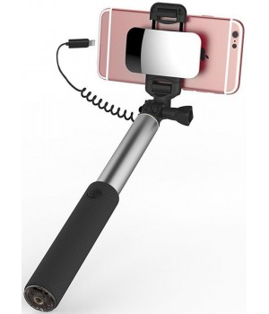 Аксесуари Селфістіки Rock Selfie Stick with Lightning Wire Control & Mirror